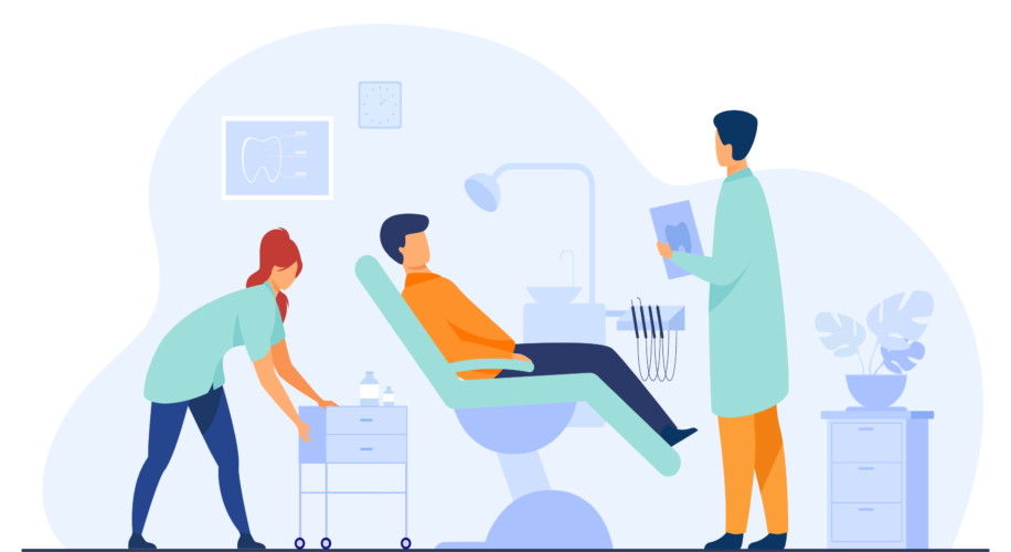 A dentist and dental assistant talking to a patient in a chair.