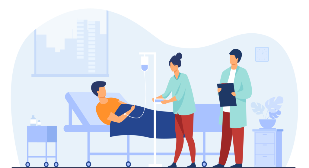 Healthcare workers helping someone in a hospital bed.