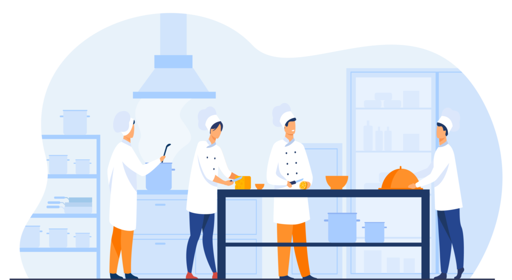 Chefs working in a kitchen.