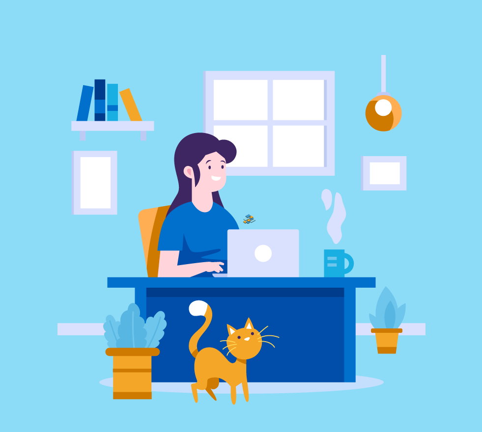 Illustration of a person working from home with their cat.