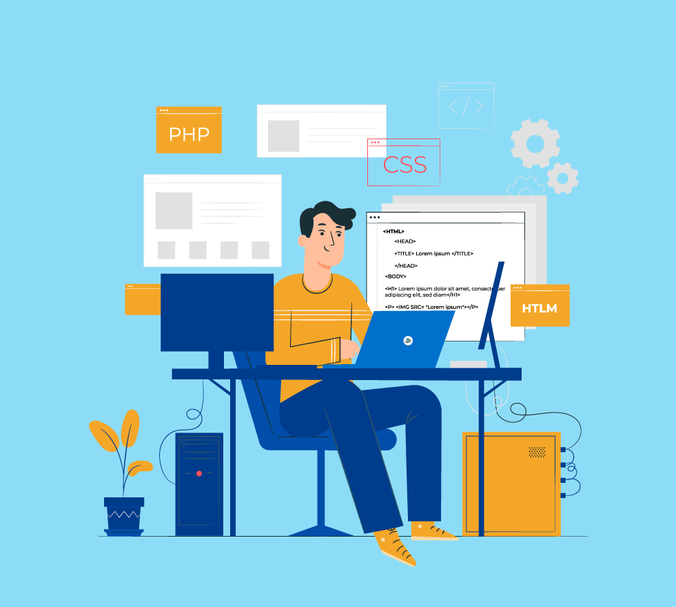 Illustration of a person developing a website
