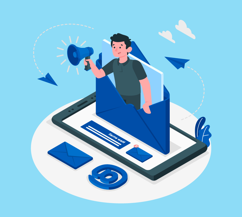 Illustration of a man coming out of an email making an announcement,