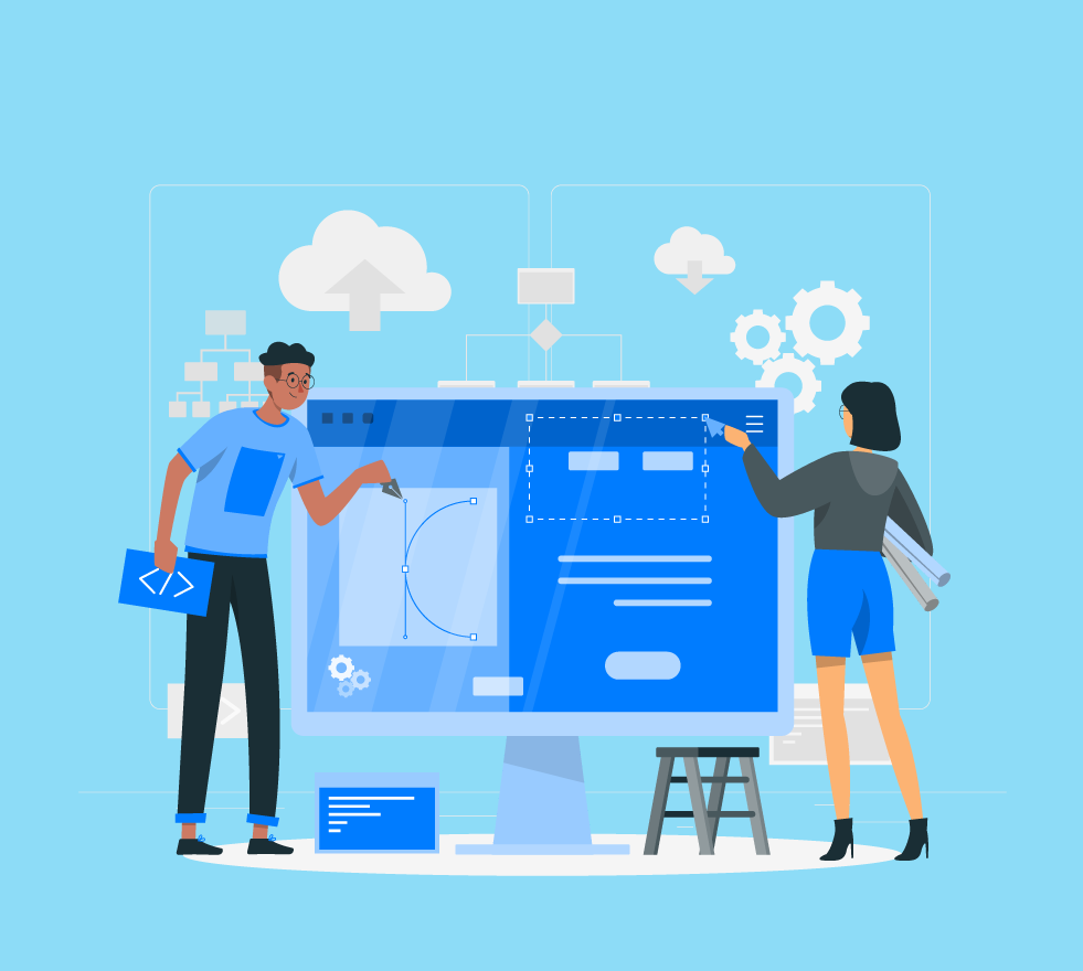 Illustration of two people developing an app together.